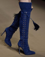 Red Black Blue Orange 4 Colors Lace Up Over The Knee Boots For Woman Tassels Decoration