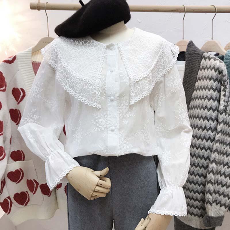 Livraison Gratuite 2019 Printemps nouvelle mode Coton couverture en dentelle Pour Femmes Long Lanterne Manches Broderie Fleur blouse blanche Automne T-shirts