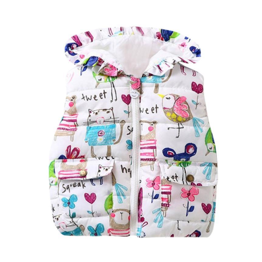 Children Clothing Winter Outerwear&Coats Animal Graffiti Thick Princess Girls Vest Hooded Kids Jackets Baby Girl Waistcoat D40