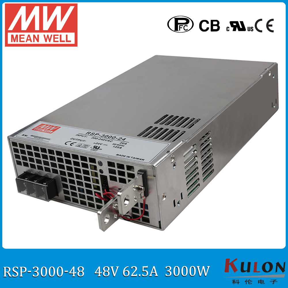 Original MEAN WELL RSP 3000 48 3000W 62.5A 48V AC/DC Power Supply with PFC function current sharing (Parallel operation)