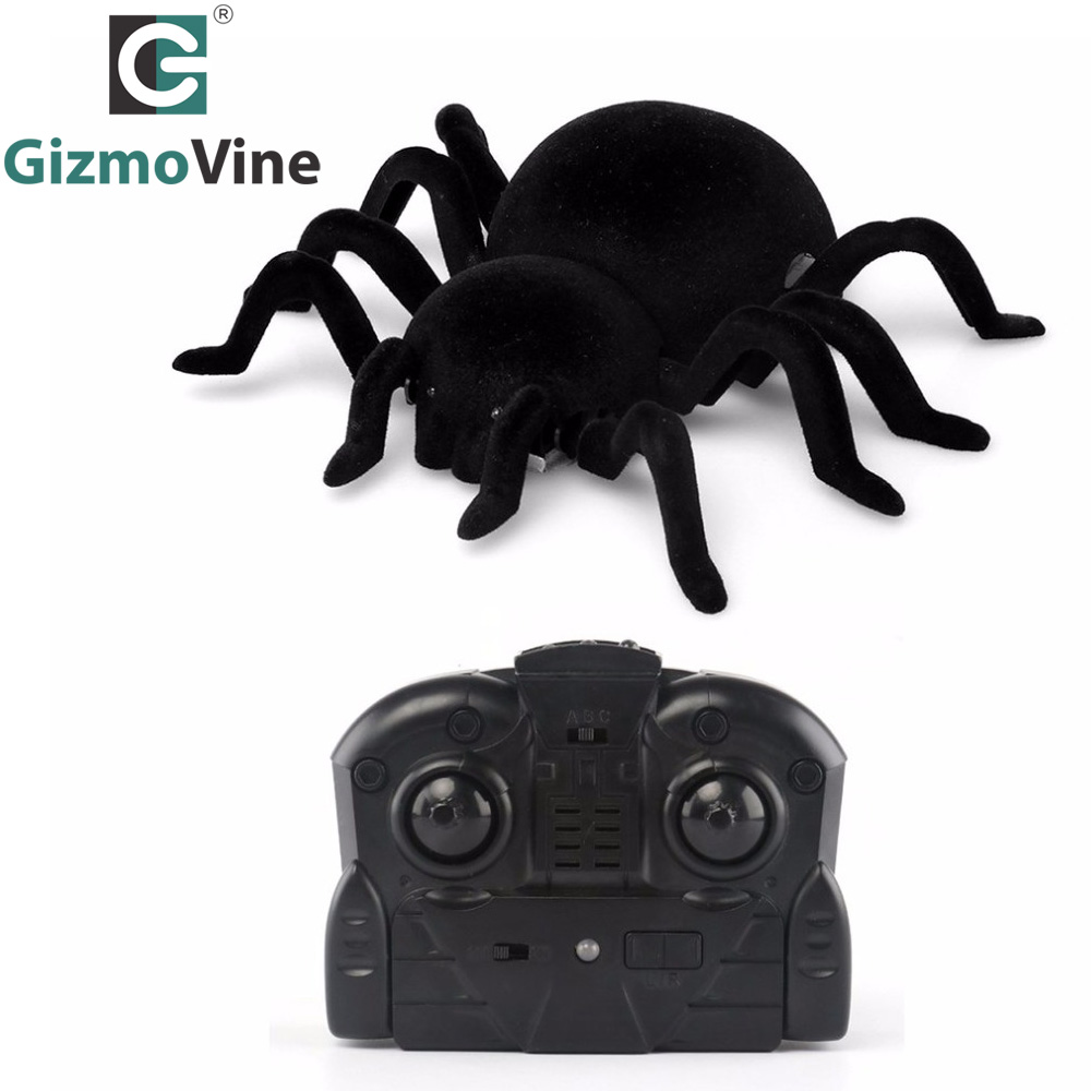 GizmoVine Radio Control Simulation Furry Electronic Spider Scary Wall Climbing Spider Toy Kids Gift Halloween Surprise RC Animal