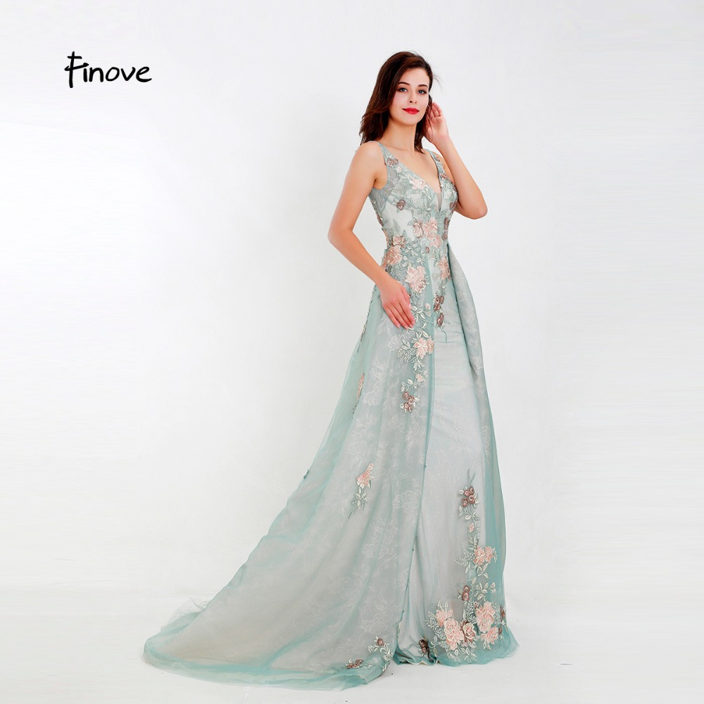 Finove Prom Dress 2019 Long Elegant Organza Embroidery Chic Skirt Sweet Neck Line Light Green Party