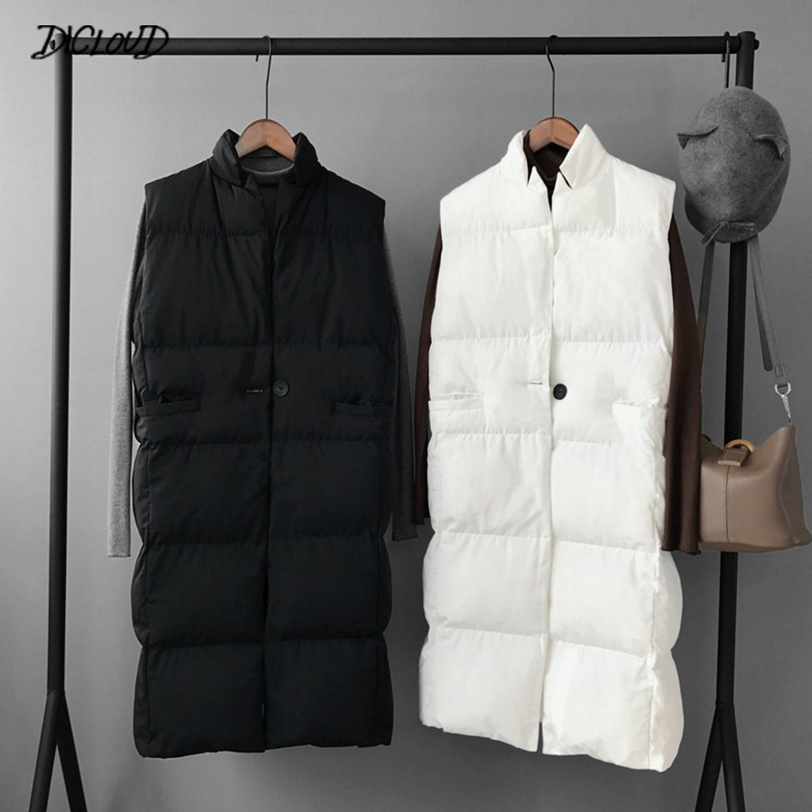 Harajuku Casual Long Cotton Vest Women Fashion 2018 Autumn Winter Warm Coat Woman Ladies Waistcoat Slim Black Plus Size Jacket