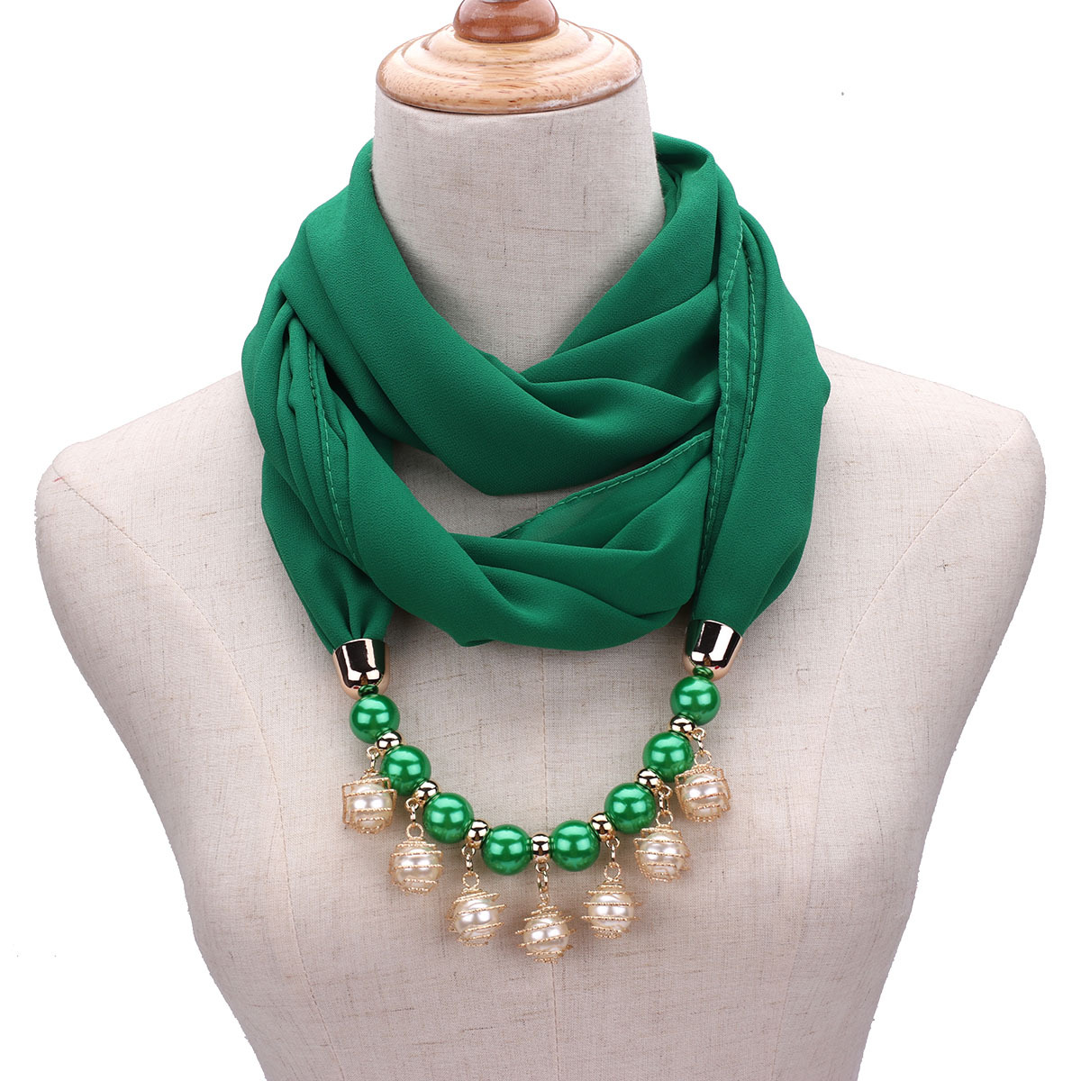 New Pendant beads jewelry   Scarf   Necklace Bohemia Necklaces For Women Chiffon   Scarves     Wrap   Foulard Female Accessories