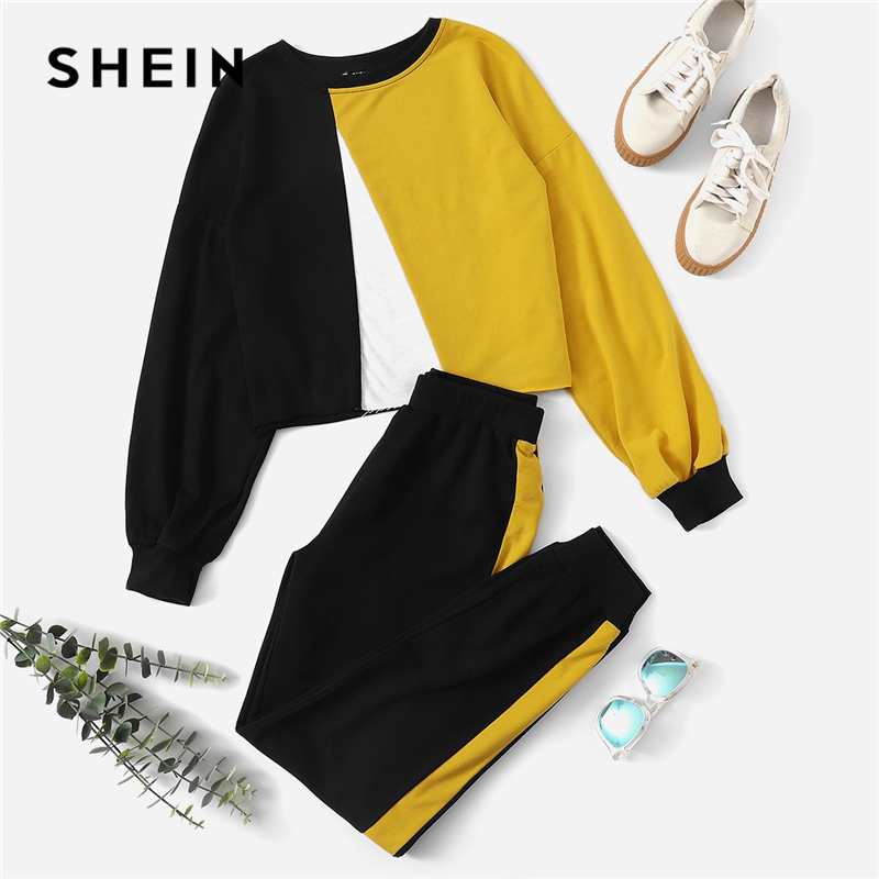 Shein Multicolor Colorblock Pullover And Distinction Sideseam Sweatpants Spherical Neck Set Girls Autumn Elegant Workwear Twopiece