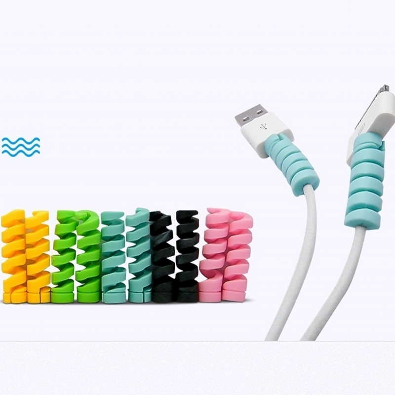 10pcs/Lot Candy Color Spiral Cable Protector Earphone Cable Organizer Wire Data Line Holder Winder Wrap Cord Desk Set