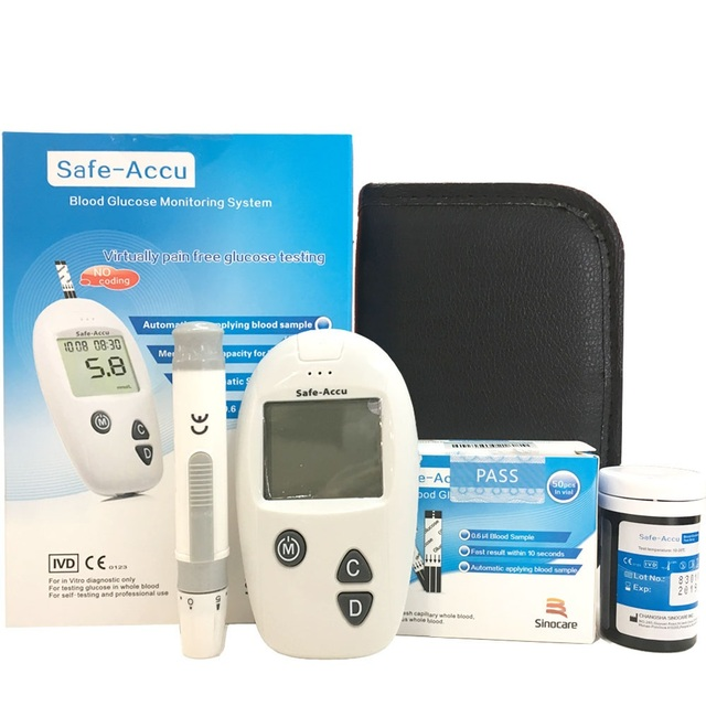 Sinocare Family Health Care for mg/dl Blood Glucose Meter Glucometer with 50 Test Strips 100 Lancets 50 Alcohol Swabs Medical