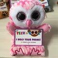 """Новый номера PEACK A боос большие глаза серия плюшевые куклы животных розовый сова * милли * 6 """" 15 см плюшевые игрушки телефона куклы лучший подарок"""