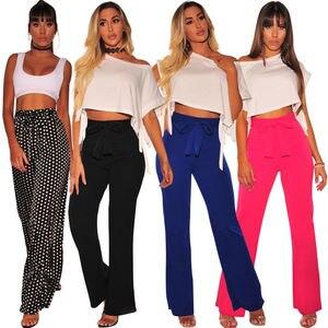 Fashion Women Stretch Flare Wide Leg Long Pant Boho Palazzo Bell Bottom Trouser Summer Women High Waist Pants