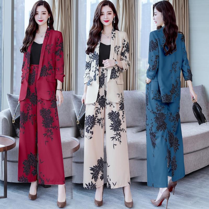YASUGUOJI New 2019 Spring Fashion Floral Print Pants Suits Elegant Woman Wide-leg Trouser Suits Set 2 Pieces Pantsuit Women 1