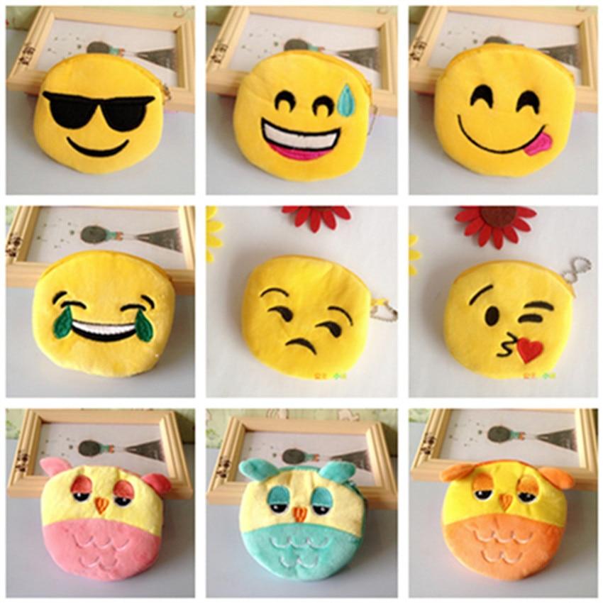 Cute Mini Change Coin Purses Smile Face Women Plush Purse Bag Lady Children Wallets Pouch Girls Handbag Bolsa  free shipping