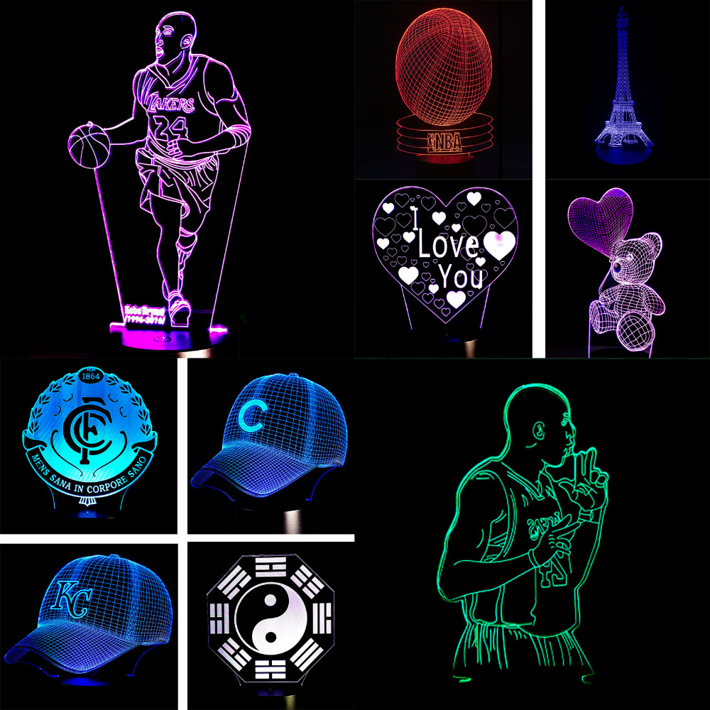 Christmas Gifts USB Novelty 3D Visiual Led Night Light Basketball NBA Illusion Led Colourful RGB Touch Table Lamp Free Shipping free shipping remote control colorful modern minimalist led pyramid light of decoration led night lamp for christmas gifts