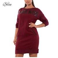 2018 New Winter Women Fleece Pullover Casual Sweatshirt Dress Half Sleeve Letter Print Large Size Warm