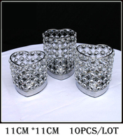 10Pcs Lot H11cm W11cm Fedex Ems Free Ship Heart Shape Crystal Votive Candle Holder Wedding Centerpiece