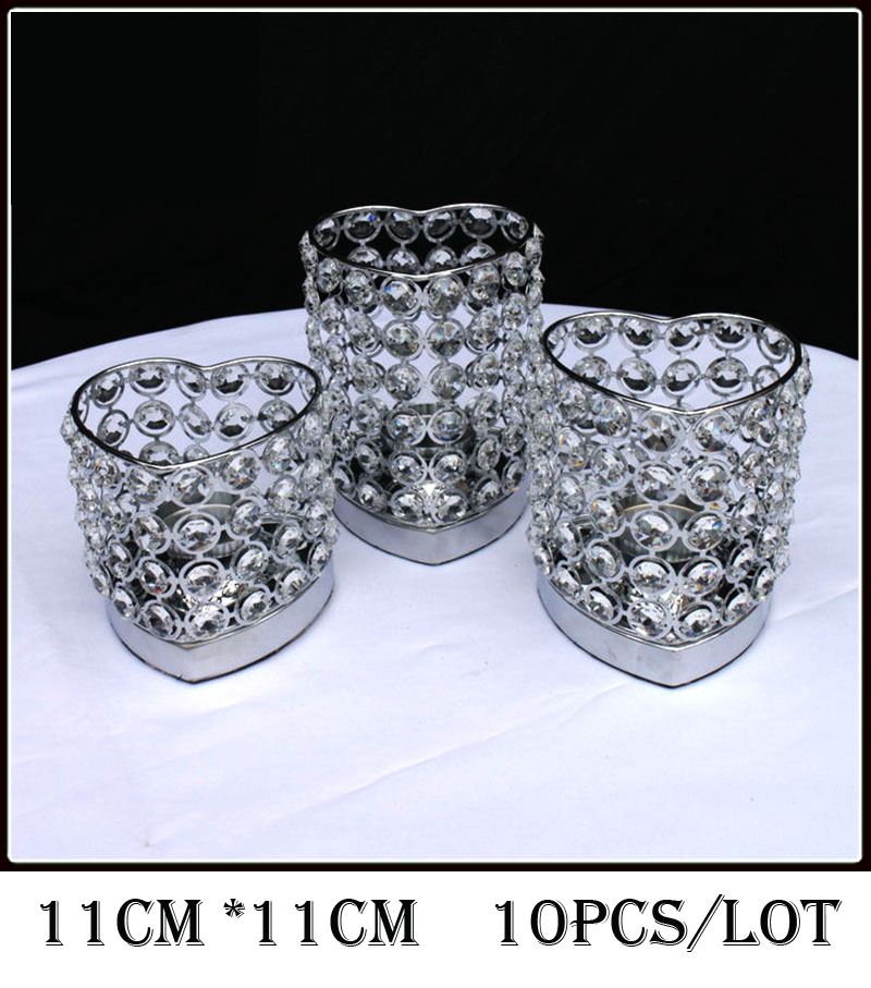 10Pcs/Lot, H11cm*W11cm, Fedex/Ems Free Ship,Heart Shape Crystal <font><b>Votive</b></font> <font><b>Candle</b></font> Holder, Wedding Centerpiece & Wedding Decoration