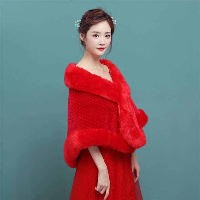 Winter Wedding Cape Red Faux Fur Coat Wedding Accessories Long Sleeves Shawl Jacket Faux Fur Shrug Bridal Bolero PBJ14