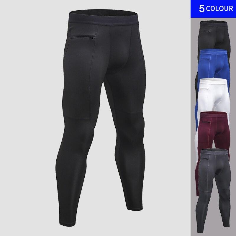 Nuevo bolsillo con cremallera bolsillo Pantalones de deporte para los hombres rápido seco hombres de Pantalón Jogging pantalón gimnasio ropa de deporte pantalón