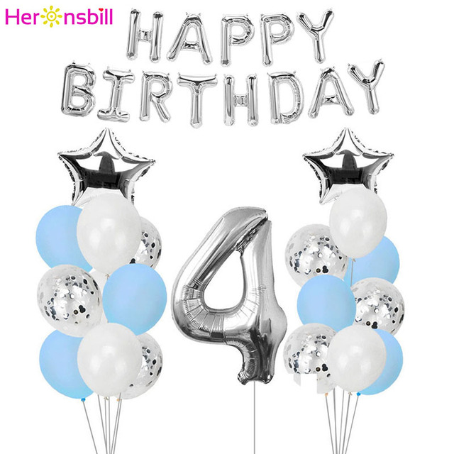 Heronsbill Number 4 Balloons Banner Kits 4th Birthday Party Decorations Boy Girl Year Old Supplies