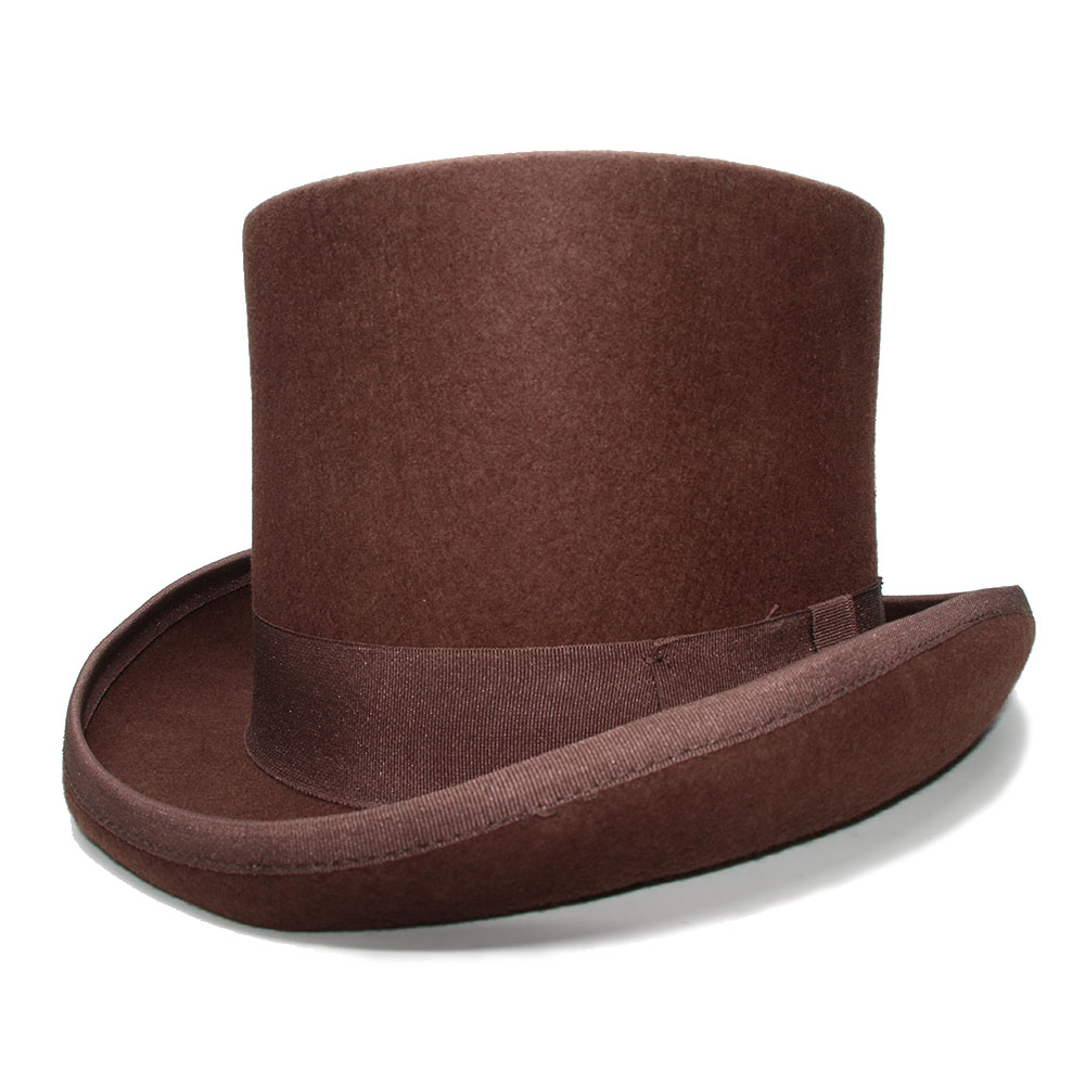 LUCKYLIANJI Retro Womens Mens Brown Color Top Round Flat Top Wool 100% Vintage Magician President Lincoln Gentleman Bowler Hat