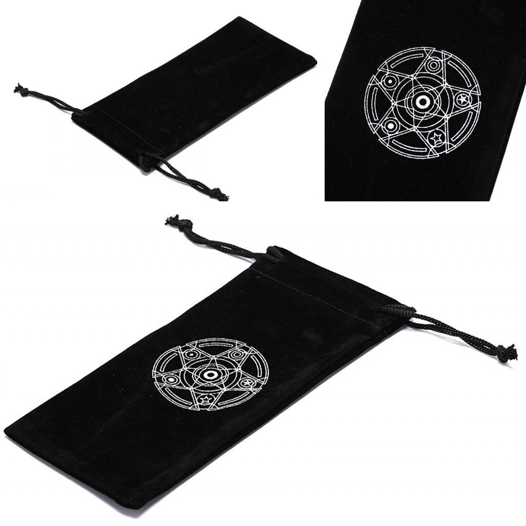 2019 New Black Velvet Pentagram Tarot Card Storage Bag Jewelry Mini Drawstring Package Board Game Six Awn Star Table Games Bag