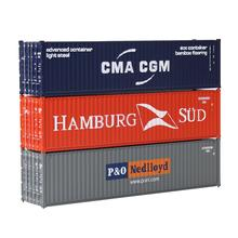 Mixed 3pcs Different HO Scale 1:87 40ft Shipping Container CMA CGM + HAMBURG SUD + P&O Freight Car C8746