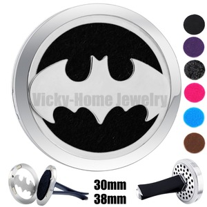Batman 30mm-38mm 316L Stainless Steel Car Diffuser Aroma Car Perfume Locket Essential Oil Car Diffuser Locket Free 6Pcs Pads(China)