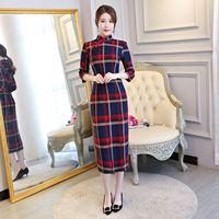 New Arrival Women S Long Cheongsam Fashion Chinese Cotton Polyester Dress Elegant Qipao Vestido Size S