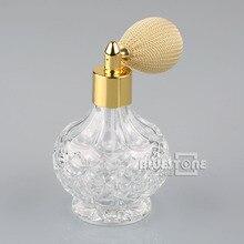80ml Vintage Clear Cyrstal Glass Perfume Bottle w/Short Spray Atomizer Lady Gift