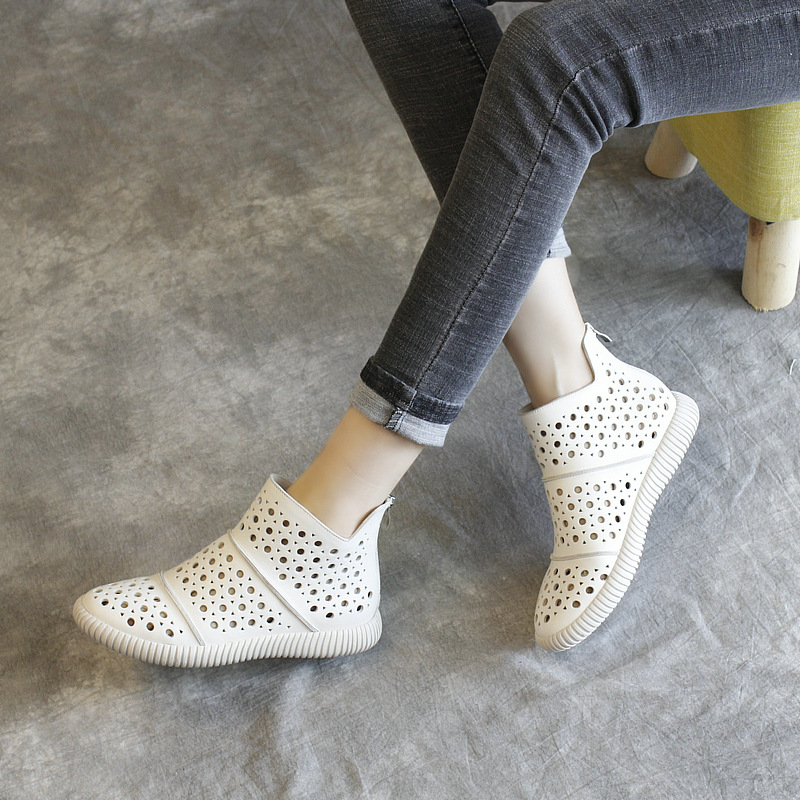 Women Leather Boots Sandals Low Heels Casual White Shoes Women Hollow Out Summer Ankle Boots Black Handmade Genuine Leather BootWomen Leather Boots Sandals Low Heels Casual White Shoes Women Hollow Out Summer Ankle Boots Black Handmade Genuine Leather Boot