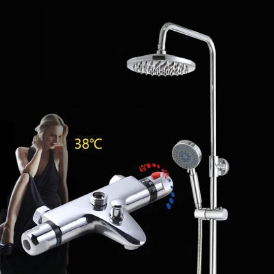 Modern Wall Mounted Chrome Brass Thermostatic 8 inch Bathroom Shower Faucet Mixer Taps Dual Handle with Handheld Showerhead