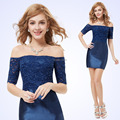 Free Fast Shipping HE05229SB  Ever Pretty Women's Fashion Boat Neck Short Sleeve Lace Blue Cocktail Dress HE05229SB 2016
