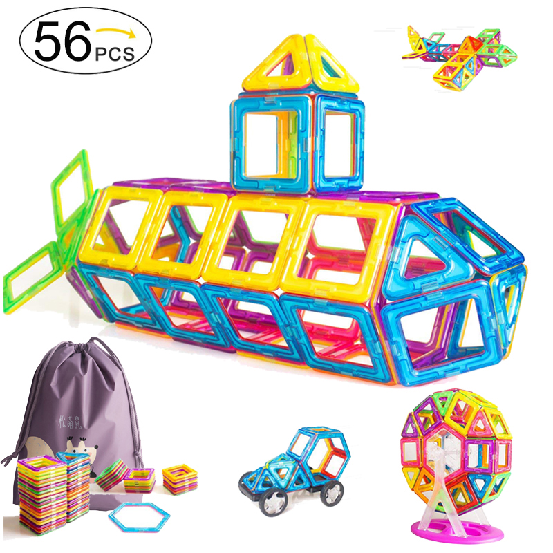 56pcs Big Size Magnetic Designer Blocks Building & Construction Toy Magnetic Tiles Game Educational Toys For Children Gifts