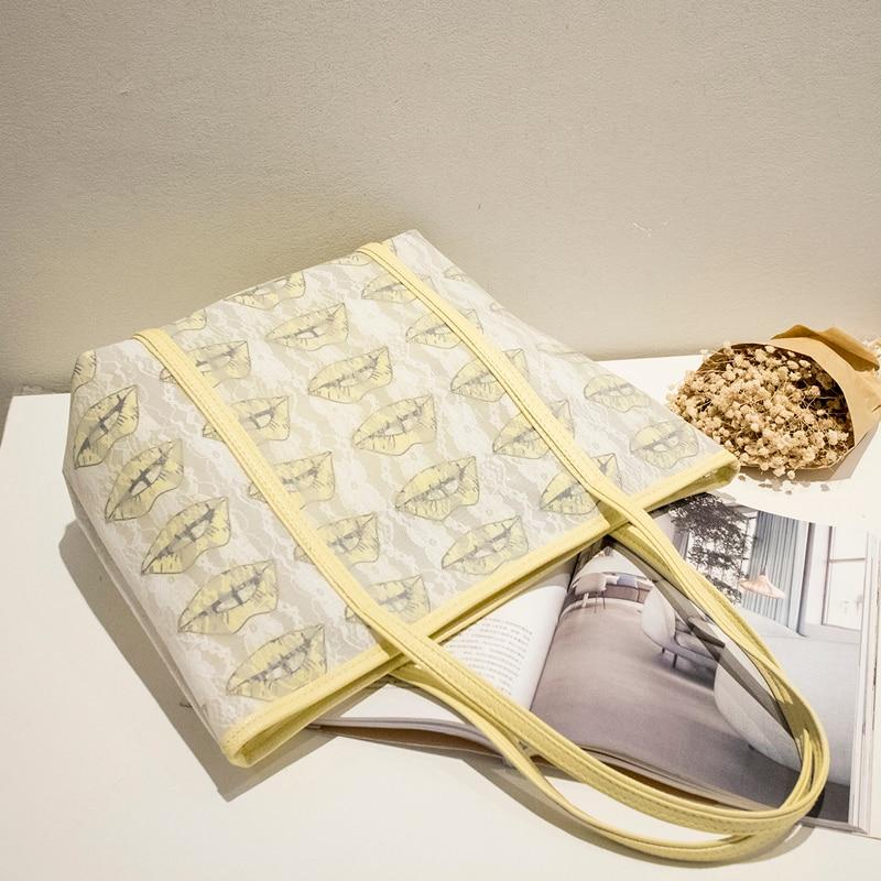 Bolsa de playa con estampado de labios de alta calidad bolsa de playa - Bolsos - foto 5