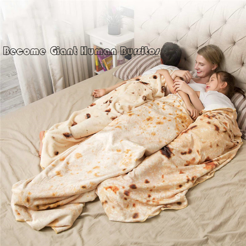 Burritos Tortilla Blanket Soft And Comfortable Giant Round Beach Blanket Novelty Soft Flannel Food Tortilla Blanket For Adults