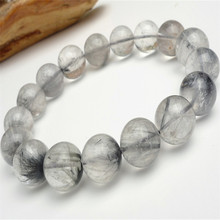 13mm Genuine Brazil Natural Rutilated Quartz Crystal Round Bead Bracelet Women Men Power Stretch Bracelet