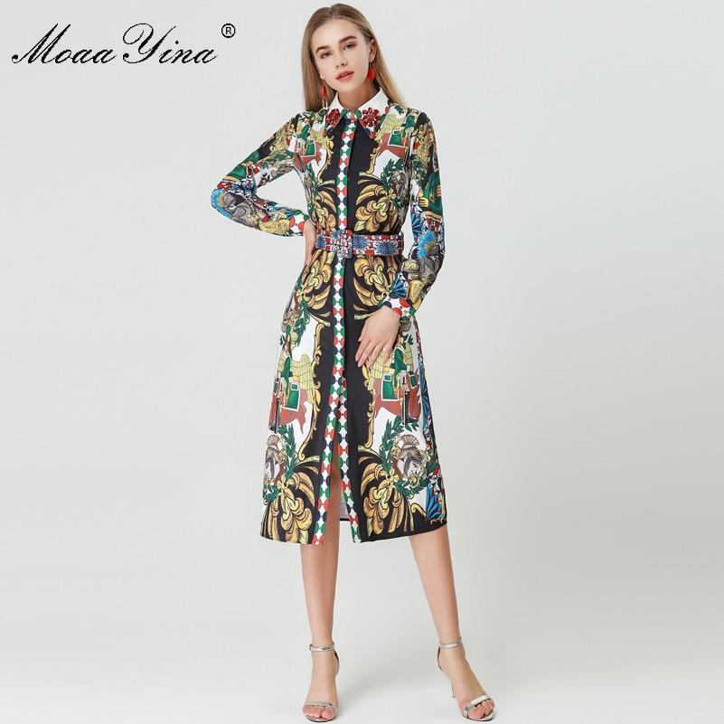 Kadın Giyim'ten Elbiseler'de MoaaYina 2018 Moda Tasarımcısı Pist Elbise Sonbahar Kadınlar Uzun kollu Turn down Yaka Elmas Kemer Vintage Karakter Baskı Elbise'da  Grup 1