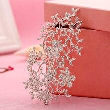 Moda eleganckie ślubne ślubne akcesoria do włosów biżuteria kryształ Rhinestone wesele włosów grzebień spinka do włosów szef łańcucha chluba