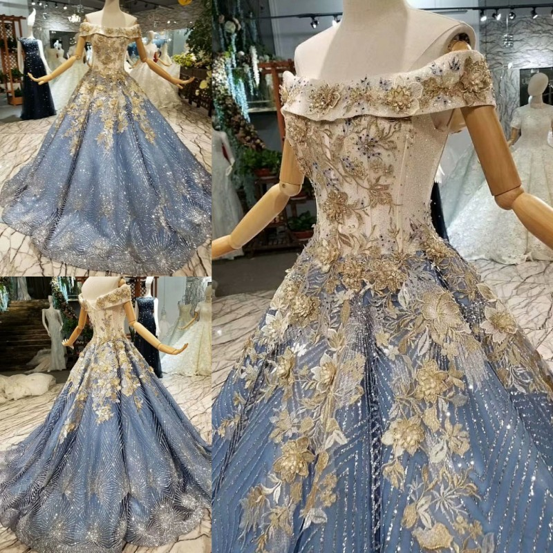 Glitter Sequined Fabric Ball Gowns Wedding Dresses 2018