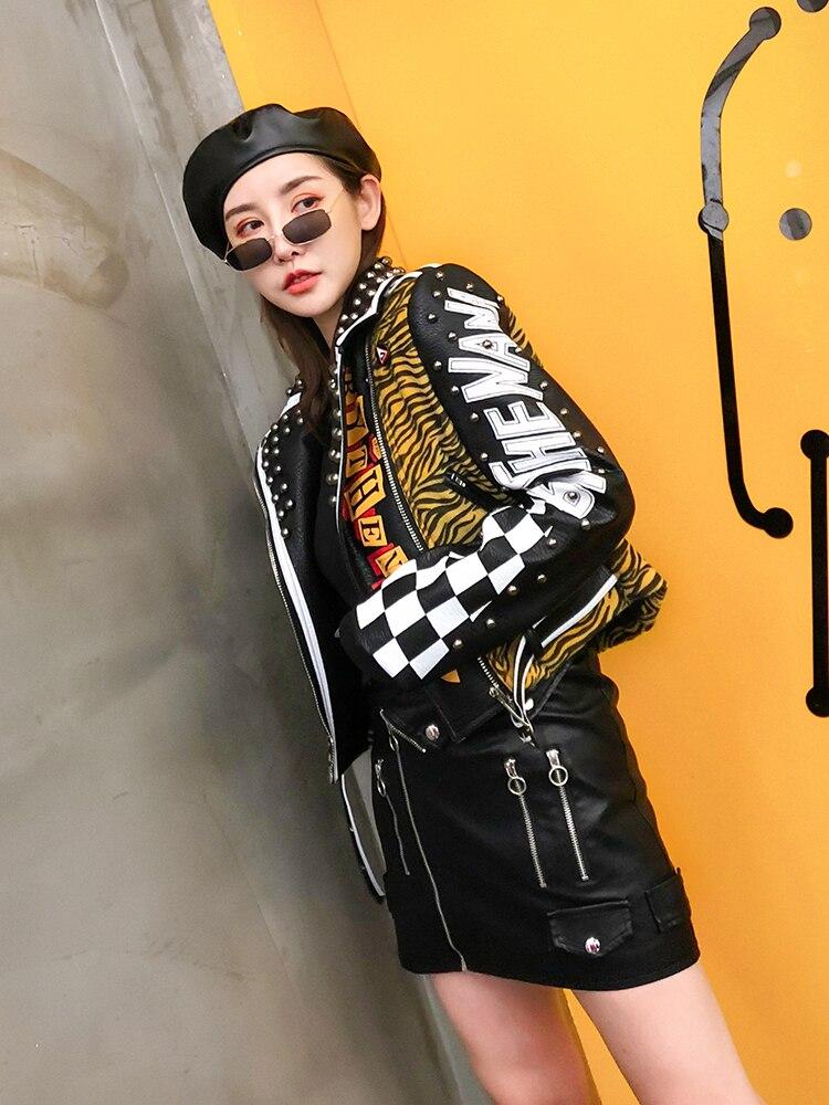 Badges Style Imprimé Noir En Lettres Zèbre Pu Femmes Revers Rivets Cuir Rayures Veste Autocollants Nouveau Manteau RwFXX
