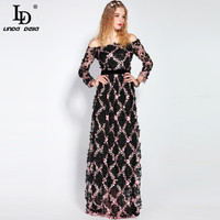 2017 Runway Maxi Dress Women Party Wear Floor Length Slash Neck Off The Shoulde Floral Embroidery