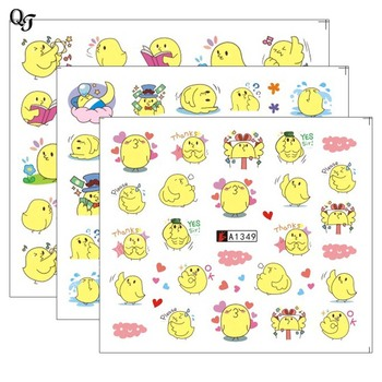 New QT Beauty Water Nail Decal Stickers Yellow Lovely Transfer Sticker Wraps Manicure DIY Simple Nail Art Decoration QA1348-1350 image