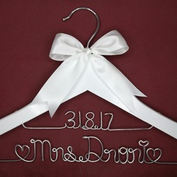 Personalized Wedding Hanger, bridesmaid gifts, name hanger, brides hanger custom Bridal Gift white hanger