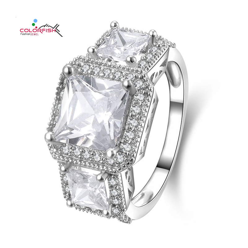 ... 007a3 ceed9 Luxury Large Three Stone Princess Engagement Ring 925  Silver Square Cut 2.86 ct Sona ... e02b2005f