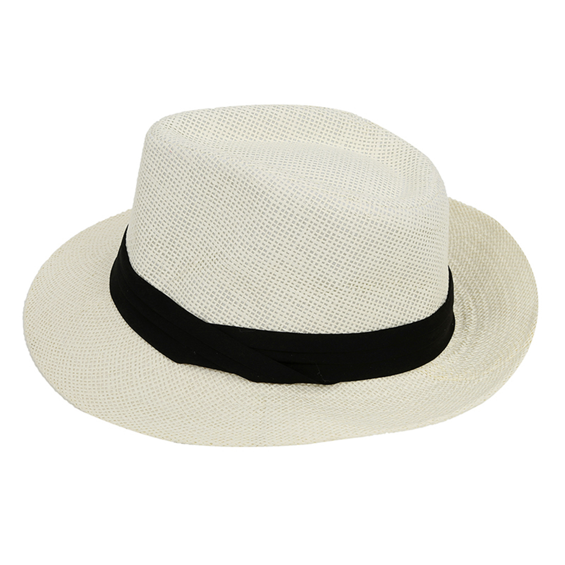 White Casual Straw Fedora Hat Sun Hat For Lovers