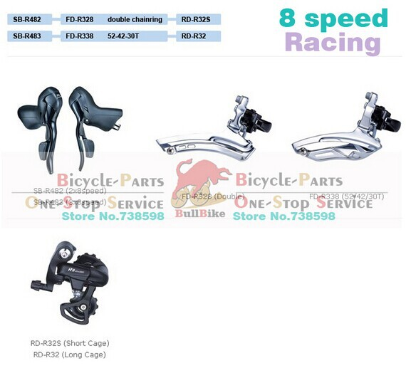 все цены на Free shipping microshift 2*8 3*8 speed raod derailleur groupset shifter+front derailleur+rear derailleur tag bike part s онлайн