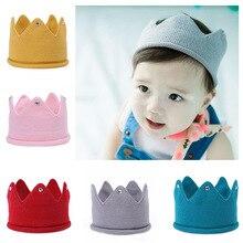 лучшая цена 1pc Baby Newborn Photo Props Kids Caps Baby Crown Knitted Headband Hat Photography Accessories Birthday Cap