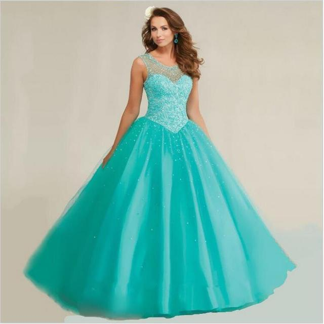 Vestido xv azul turquesa