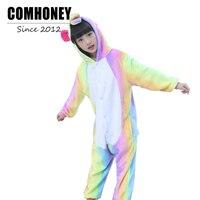 Baby Pajamas For Girls Boys Rainbow Sleepers Kids Kigurumi Children Pyjama Pegasus Flannel Winter Hooded Animal