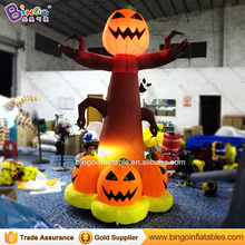 customized halloween 3 meters high inflatable pumpkin tree with led lighting hot sale blow up decorations for party toys
