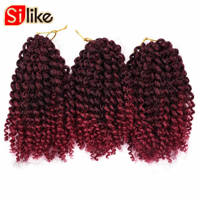 Silike 3 шт./компл. вязанная косами Marlybob 8-дюймовый Ombre Синтетические пряди для наращивания волос В наличии 14 цветов афро кудрявый волос для черный Для женщин 1 Pack